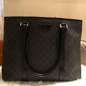 Gucci Black Canvas Tote Bag
